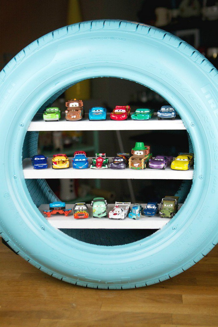 DIY Toy Shelves Using a Tire