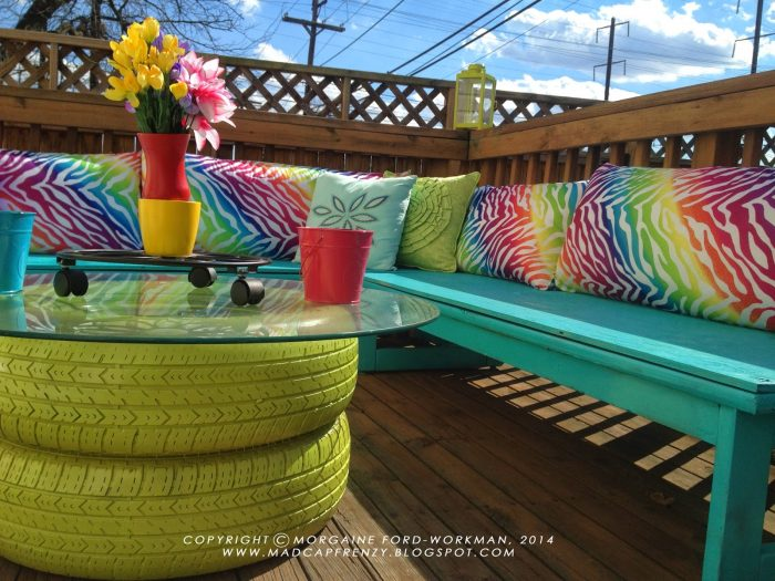 DIY Tyre Colorful Deck Seating