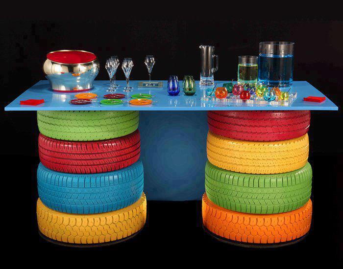 Decorative Table With Colorful Tyres