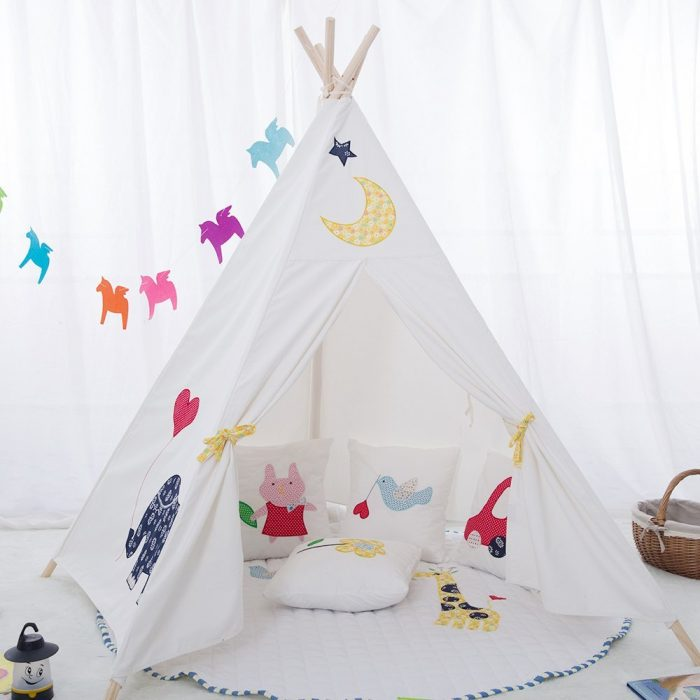 Embroidery Elephant Kids Teepee Tent