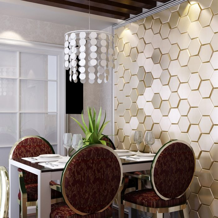 Golden Hexagon Leather Wall Panel