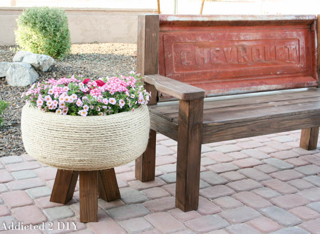 Gorgeous Recycled Tyre Planter