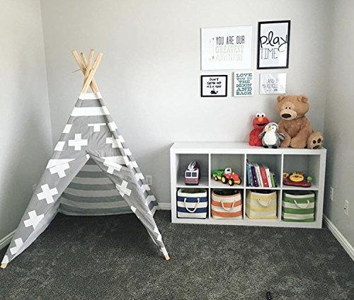 Gray and White Stripes Kids Tent