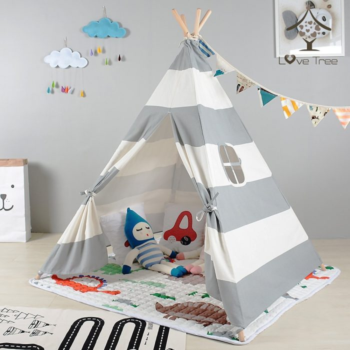 Grey Striped Kids Teepee Tent