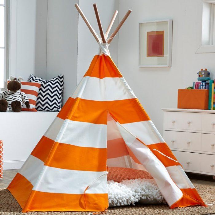Orange & White Stripes Kids Tent