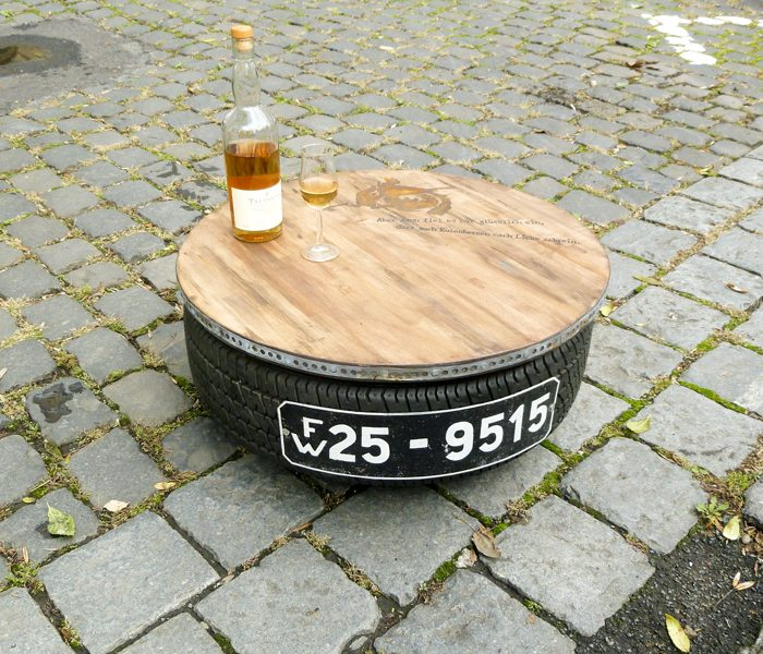 Outdoor Table with Recycled Tyre