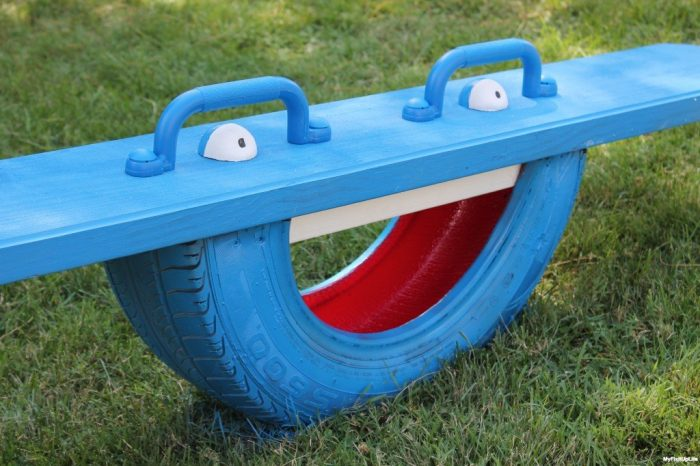 Painted Recycled Tyre Totter