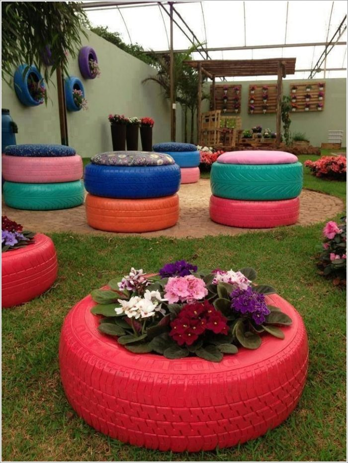 Recycled Tire Planter Garden