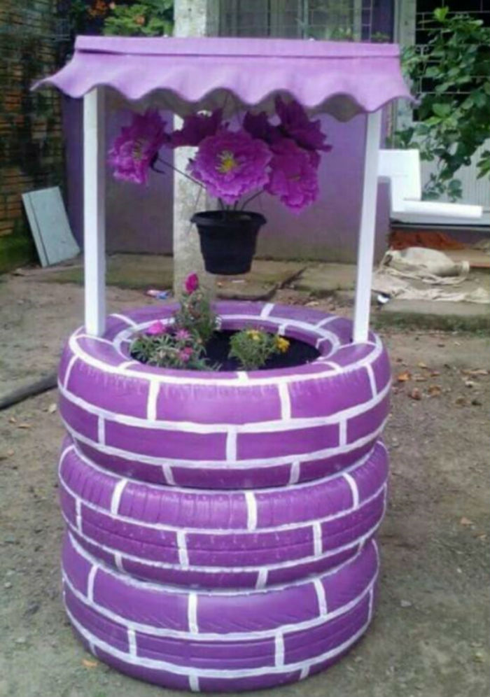 Recycled and Painted Tyre Planter