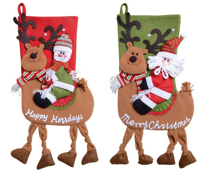 Santa, Snowman Ride Deer Stockings