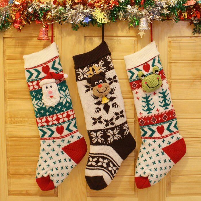 Set of 3 Cute 3D Christmas Stockings