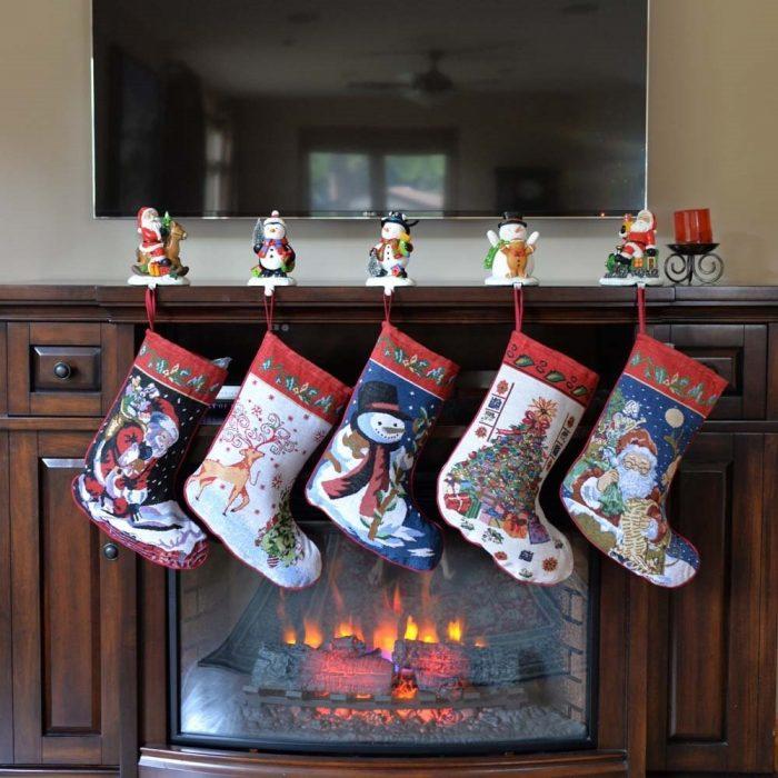 Set of 5 Christmas Design Stockings