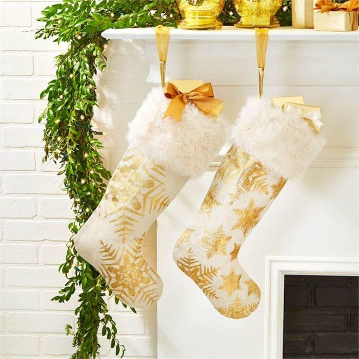 Snowflake Gold Foil Christmas Stockings