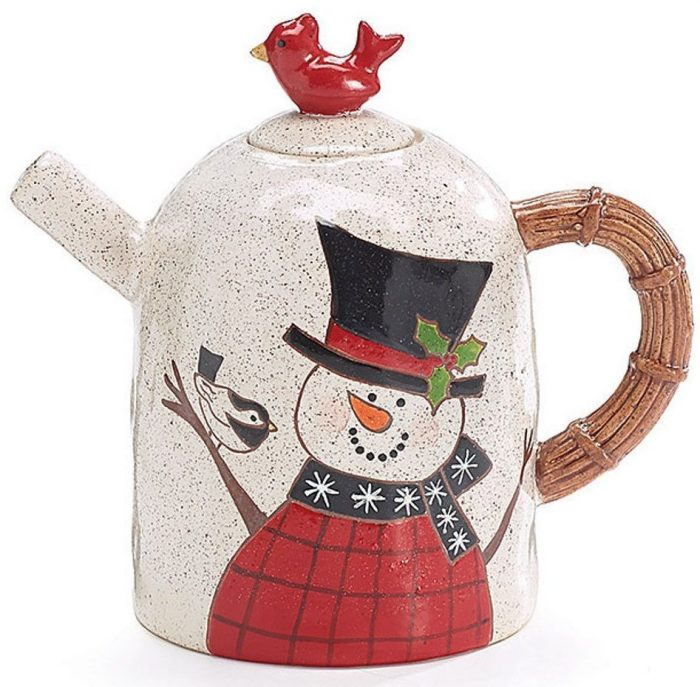 Snowman Teapot with Red Cardinal Bird