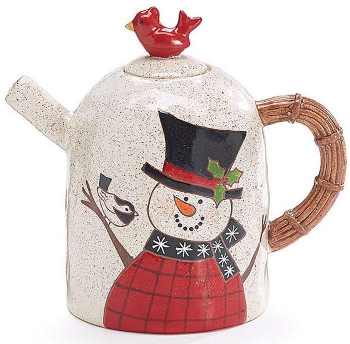 Snowman Teapot with Red Cardinal Bird