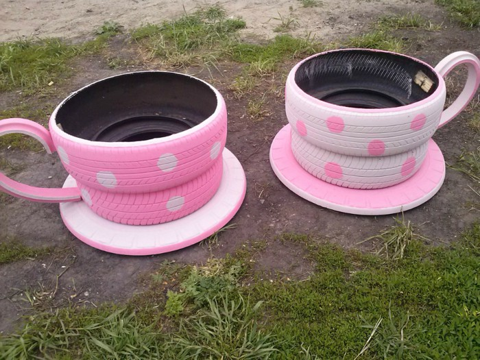 Tea Cup Tyre Planter