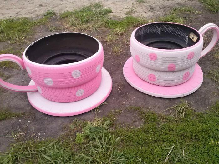 Tea Cup Tyre Planter