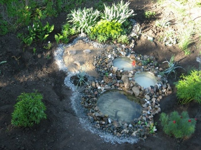 Water Pond Using Old Tyres