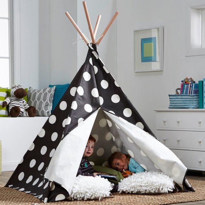 White Polka Dots Kids Teepee Tent