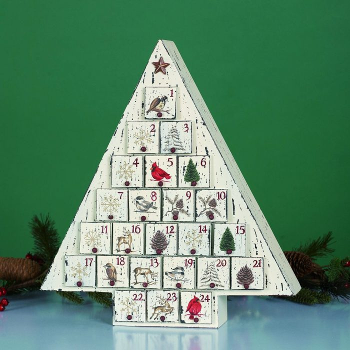 White Wood Holiday Tree Advent Calendar