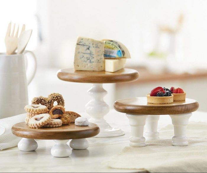 White and Brown 3 Piece Cake Stands
