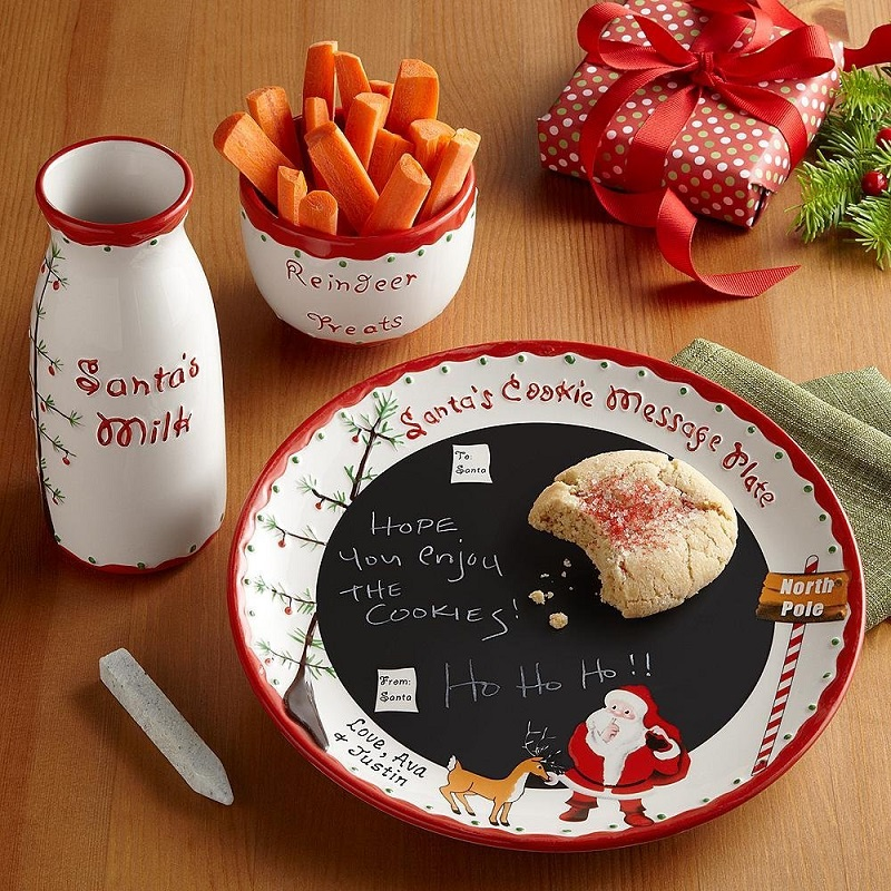 Cookies for Santa plate Child to Cherish Santas Message Christmas Plate Set with Cookie Cutters Reindeer Treat Bowl and Cookie Cutters Santa milk jar