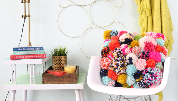 How to make pom pom pillow