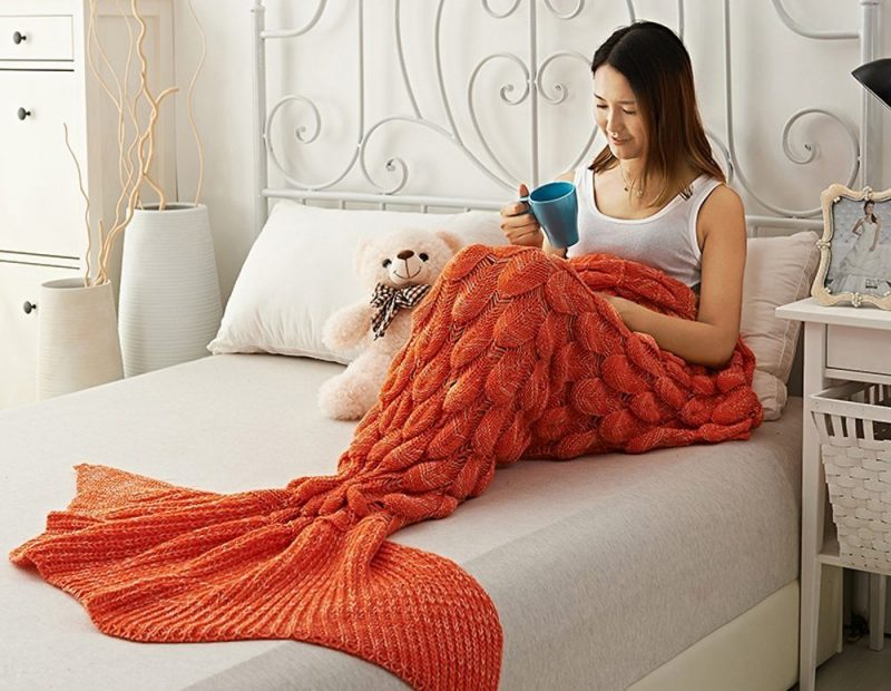 Orange Mermaid Blanket