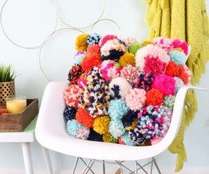 DIY No-Sew Warm & Cozy Pom Pom Pillow