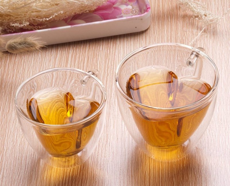 Heart Shaped Double Wall Insulated Glass Tea Cup