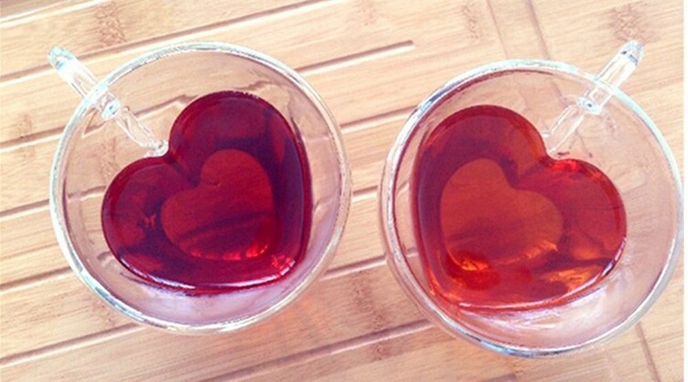 Romantic Heart Shaped Glass Mugs