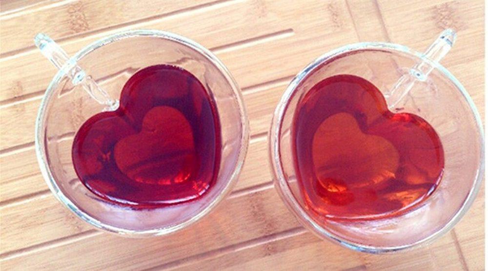 Romantic Heart Shaped Glass Mugs