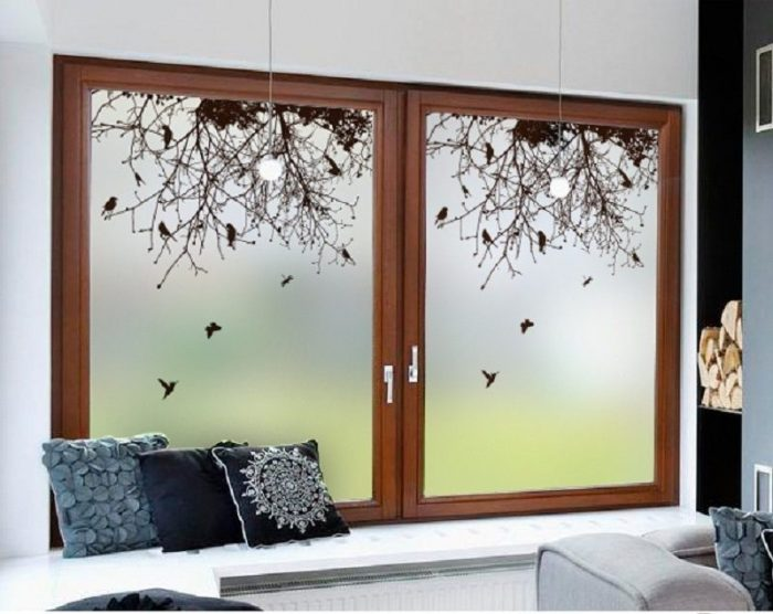 Branch And Birds Privacy Window Film