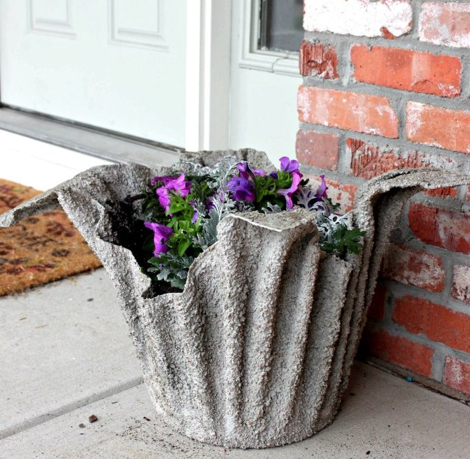 DIY Concrete Towel Planter