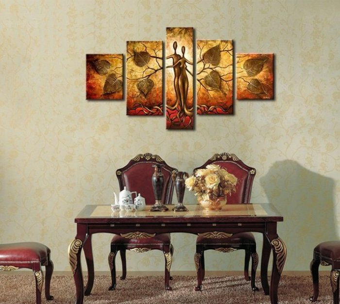 Golden Tree Lovers Hand Painted Wall Decoration
