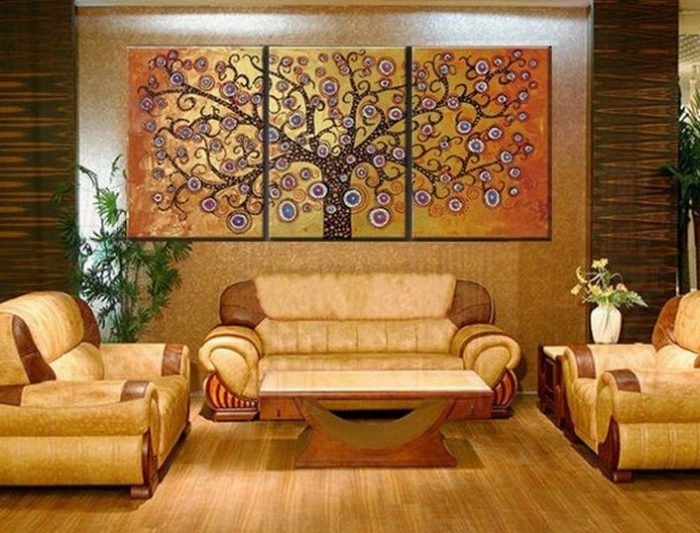 Home Deco Tree Hand Painted Wall Decoration
