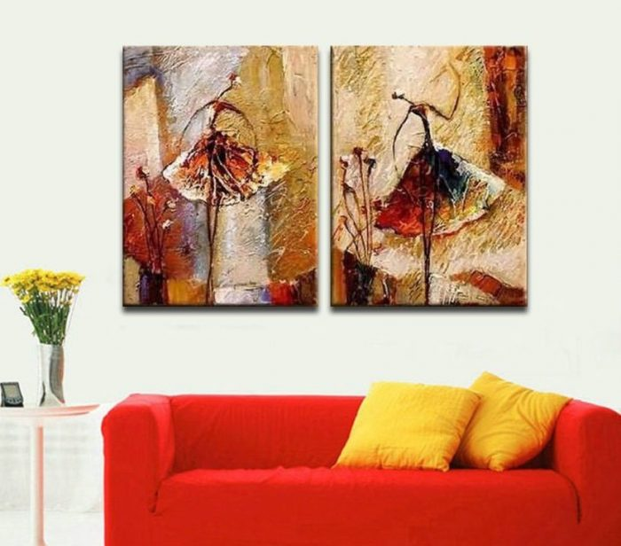 Modern Ballet Dancers Hand Painted Wall Decoration