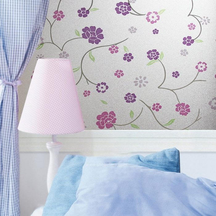 Purple Flower Window Decorative Film