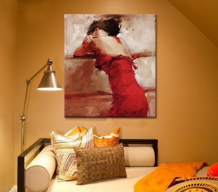 Red Lonely Lady Hand Painted Wall Decoration
