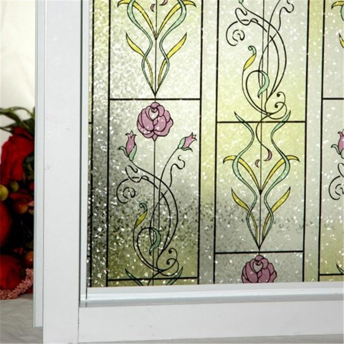 Red Rose Window Decorative Film