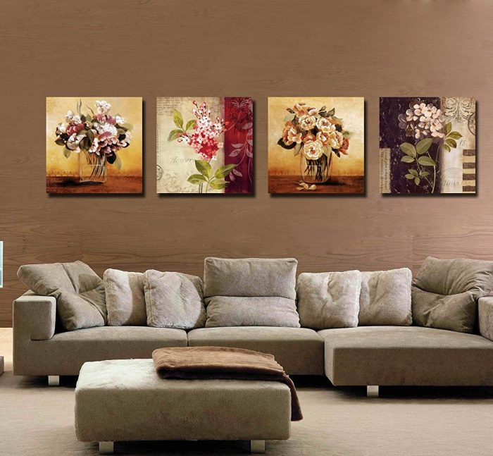 Retro Flowers Framed Hand Painted Wall Decoration