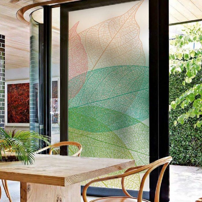 Simple Style Color Tree Leaves Window Film