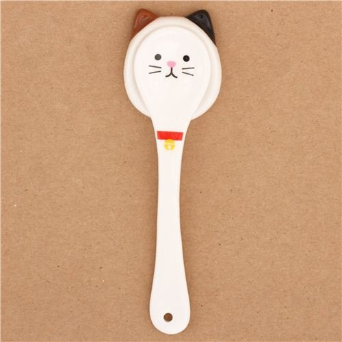 White Cat Ceramic Spoon Rest