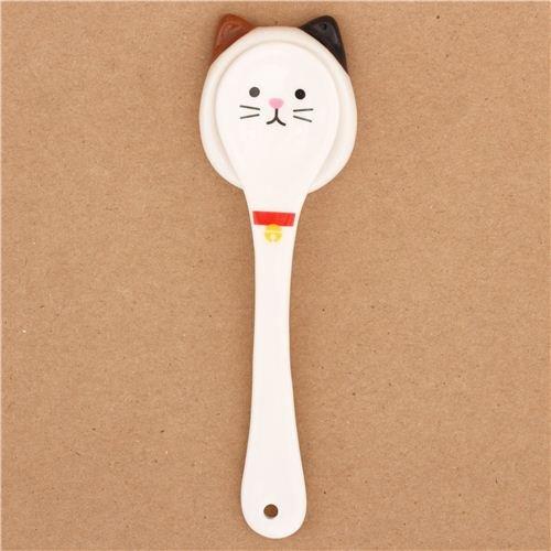 White Cat Ceramic Spoon Rest