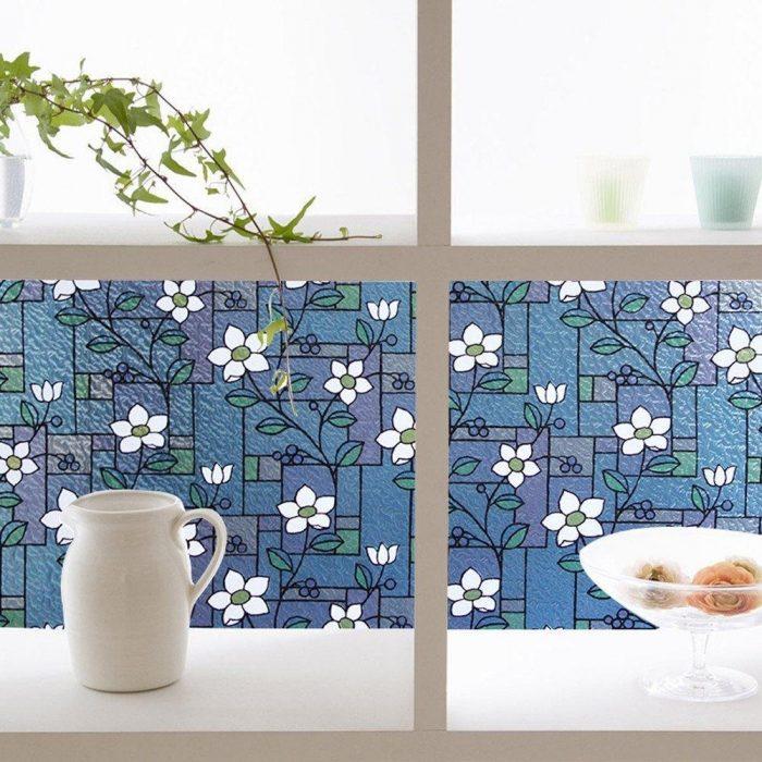 White Flower Decorative Privacy Window Film