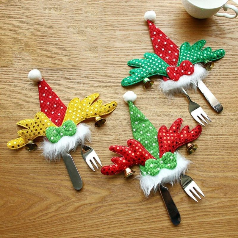 Christmas Ornament Tableware Knife Forks Bags