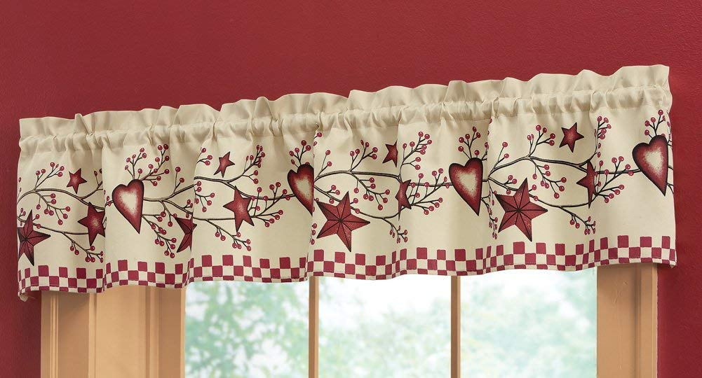 Country Heart Checkered Rod Pocket Window Valance
