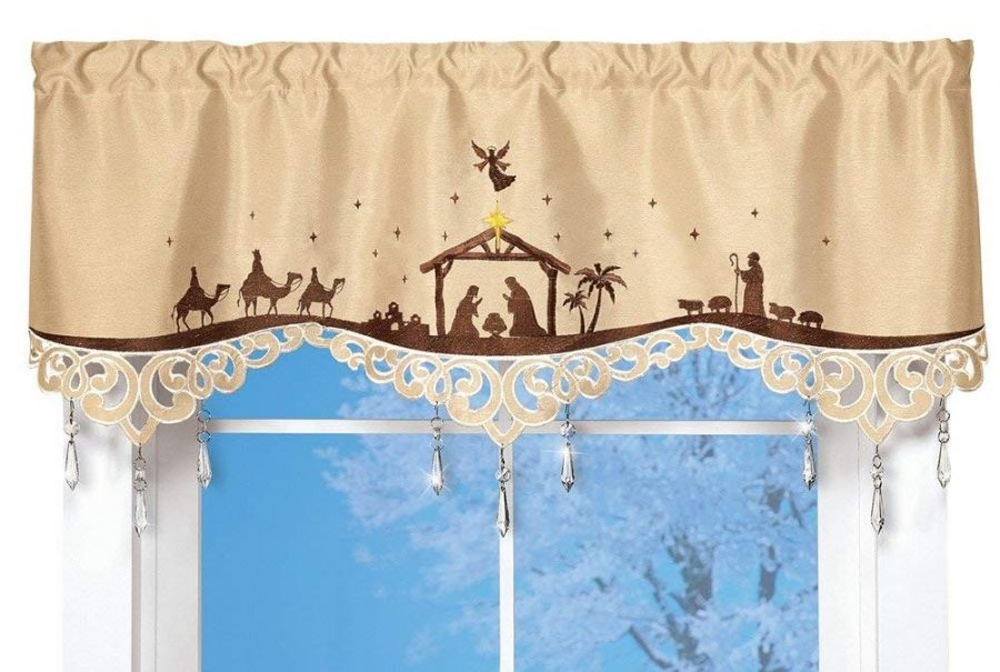 Elegant Nativity Christmas Valance with Crystal Accents