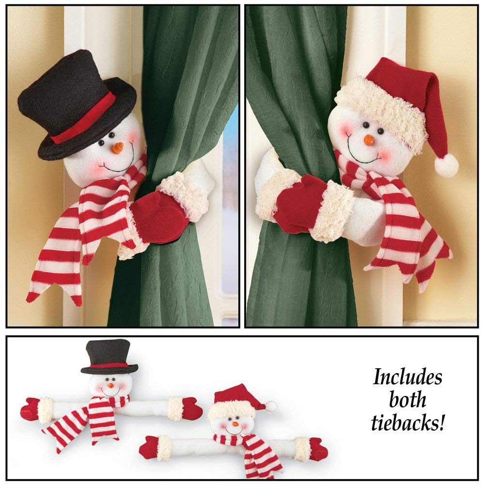 Snowman Curtain Tie Back Set