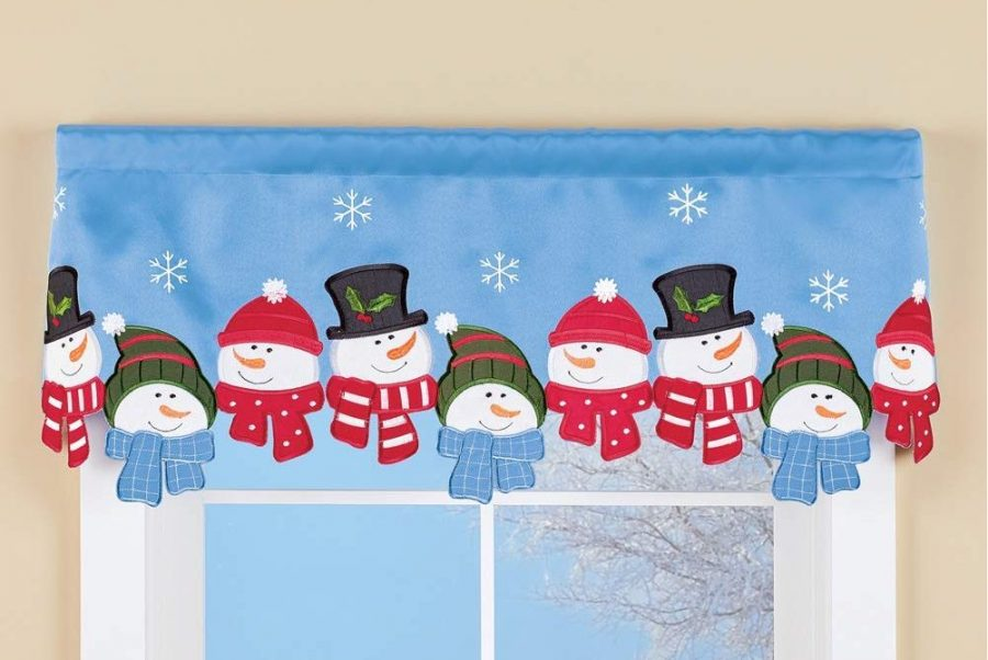 Snowman Cut Out Window Valance Curtain with Embroidered Snowflakes